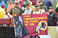 Landover, MD - September 23, 2018: Washington Redskins fans hold up a sign during game between the Green Bay Packers and the Washington Redskins at FedEx Field in Landover, MD. The Redskins get the win 31-17 over the visiting Packers. (Photo by Phillip Peters/Media Images International)