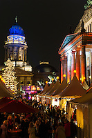 One of the many cozy X-mas markets in Berlin, Germany. The Deutscher Dom (English: German Church) in the background, is located on the Gendarmenmarkt across from Französischer Dom (French Church). Its parish comprised the northern part of the then new quarter of Friedrichstadt, which until then belonged to the parish of the congregations of Jerusalem's Church. The Lutheran and Calvinist (in German Reformed Church) congregants used German as their native language, as opposed to the French-speaking Calvinist congregation owning the French Church of Friedrichstadt on the opposite side of Gendarmenmarkt. The congregants' native language combined with the domed tower earned the church its colloquial naming. The church is not a cathedral in the actual sense of the word.