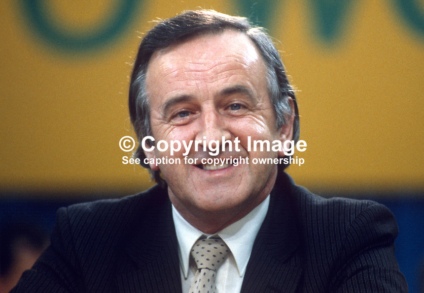Albert Reynolds, TD, industry spokesman, Fianna Fail, opposition party, Rep of Ireland, photographed at April 1984 Ard Fheis i.e. party conference, 19840048AR1..Copyright Image from Victor Patterson, 54 Dorchester Park, Belfast, UK, BT9 6RJ..Tel: +44 28 9066 1296.Mob: +44 7802 353836.Voicemail +44 20 8816 7153.Skype: victorpattersonbelfast.Email: victorpatterson@me.com.Email: victorpatterson@ireland.com (back-up)..IMPORTANT: If you wish to use this image or any other of my images please go to www.victorpatterson.com and click on the Terms & Conditions. Then contact me by email or phone with the reference number(s) of the image(s) concerned.