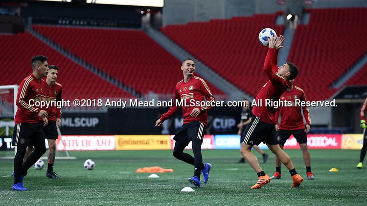 ATLANTA, GA - DECEMBER 07: Atlanta United FC's Miguel Almiron. The MLS Cup 2018 Team Training Sessions were held on December 7, 2018 at the Mercedes Benz Stadium in Atlanta, GA.