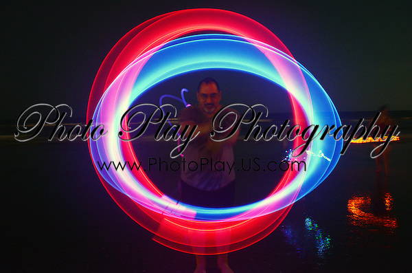 Q Spinning Glow Poi on Atlantic City Beach