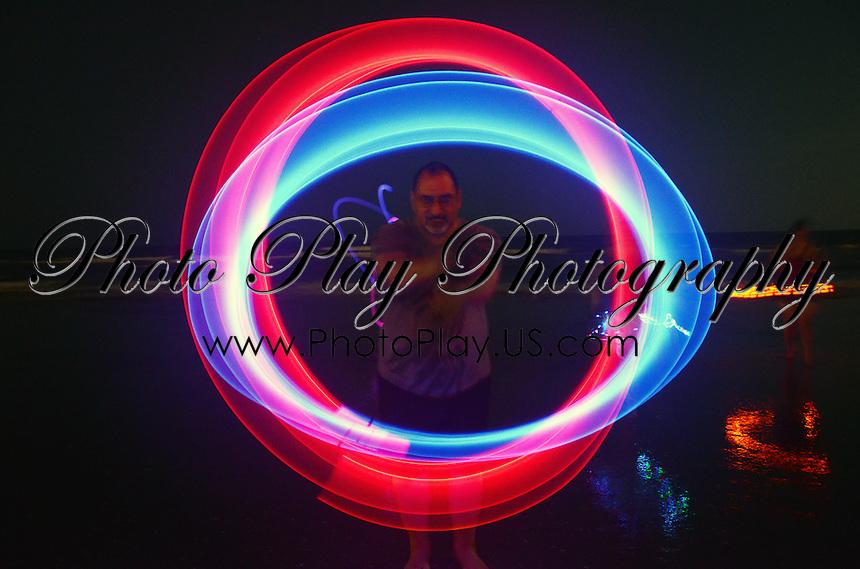 Q Spinning Glow Poi on Atlantic City Beach