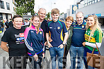 Denis Fagan (Meath) pictured with Denise, Paudie, Aidan, Bernie Murphy with Colm Joy and Aisling Murphy (Killorglin), cheering on Kerry, at the All-Ireland football semi-final Kerry v Dublin, held in Croke Park on Sunday.