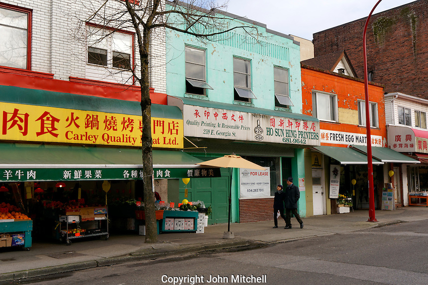 Colourful storefronts on Keefer Street in Chinatown, Vancouver, BC, Canada