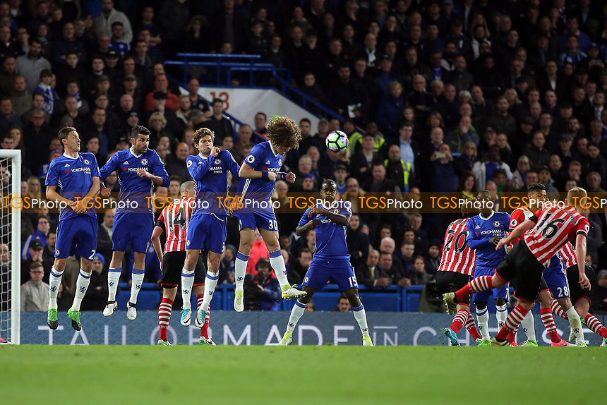 James Ward-Prowse of Southampton hits a free-kick towards the Chelsea goal during Chelsea vs Southampton, Premier League Football at Stamford Bridge on 25th April 2017