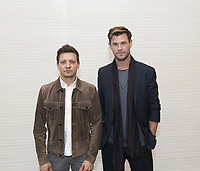 "Jeremy Renner and Chris Hemsworth, who stars in 'Avengers: Endgame"", at the InterContinental Hotel in Los Angeles. Credit: Magnus Sundholm/Action Press/MediaPunch ***FOR USA ONLY***"