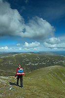 A walker descending the Munro of A'Mharconaich above the Drumochter Pass, Monadhliath, Cairngorm National Park, Highlands<br /> <br /> Copyright www.scottishhorizons.co.uk/Keith Fergus 2011 All Rights Reserved