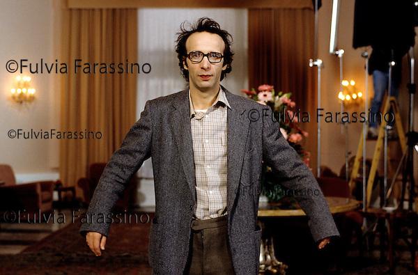 Grand Hotel di Rimini,1991, Roberto Benigni sul set del film Johnny Stecchino, Rimini,1991, Roberto Benigni on Johnny Stecchino movie set