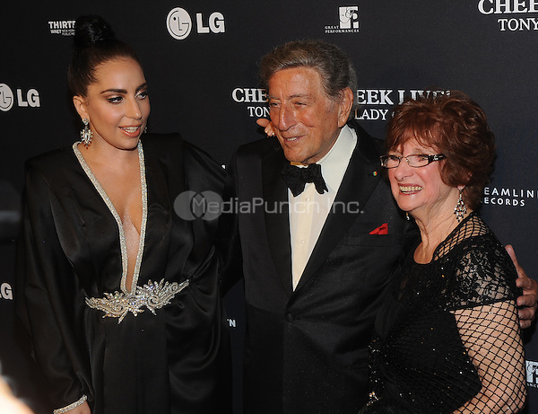 New York,NY-JULY 28: Lady Gaga, Tony Bennett, Ronnie Bissett attend 'Cheek To Cheek' taping at at Jazz at Lincoln Center on July 28, 2014 in New York City on July 27 , 2014.  Credit: John Palmer/MediaPunch