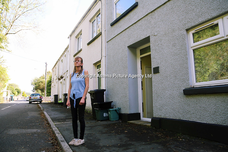 Pictured: Home owner Amanda Hopkins. Thursday 31 August 2017<br /> Re: Home owners and tennants have been served to evacuation orders by Neath Port Talbot County Council over fears that a landslip has made their houses unsafe in Cyfyng Road, Ystalyfera, Wales, UK.