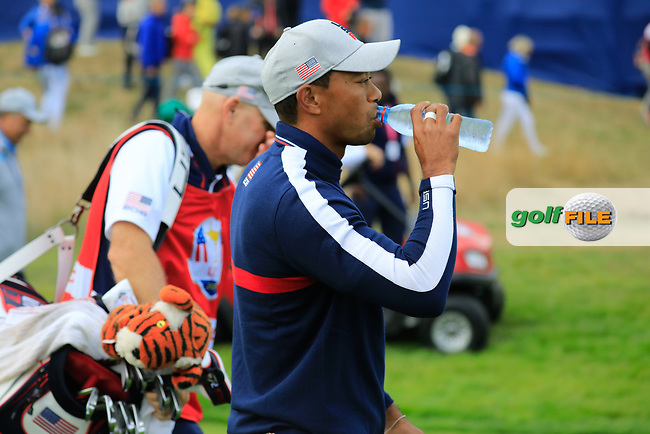 Tiger Woods (Team USA) at the Ryder Cup, Le Golf National, Paris, France. 27/09/2018.<br /> Picture Phil Inglis / Golffile.ie<br /> <br /> All photo usage must carry mandatory copyright credit (© Golffile   Phil Inglis)