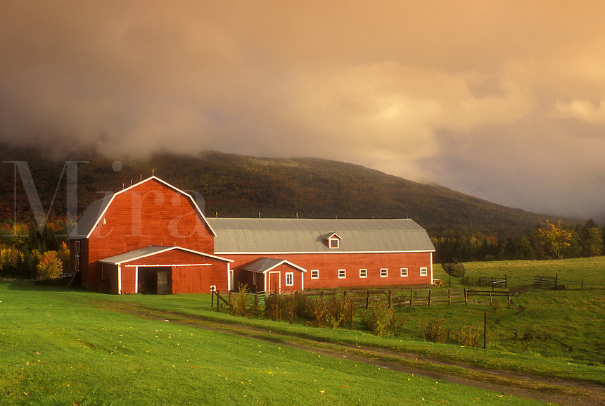 fog, barn, Waterbury, VT, Vermont, Fog rolls over the mountain behind a red barn on a farm in autumn.