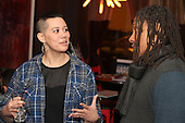 0402 - 5th Ward aldermanic candidate, Jocelyn Hare spoke with Kendal Parker and Dave Stovall during her campaign party located at Bureau Bar located at 75 E. 16th Street.
