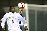 25 October 2013: Wake Forest's Sean Okoli. The Duke University Blue Devils hosted the Wake Forest University Demon Deacons at Koskinen Stadium in Durham, NC in a 2013 NCAA Division I Men's Soccer match. The game ended in a 2-2 tie after two overtimes.