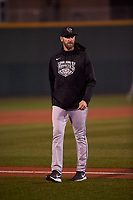 Wisconsin Timber Rattlers pitching coach Jim Henderson (29) during a Midwest League game against the Lansing Lugnuts at Cooley Law School Stadium on May 2, 2019 in Lansing, Michigan. Lansing defeated Wisconsin 10-4. (Zachary Lucy/Four Seam Images)