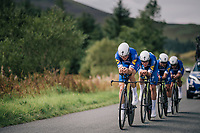 Team Quickstep Floors<br /> <br /> Time Trial through the magnificent Lake District National Park in Cumbria<br /> <br /> Stage 5 (TTT): Cockermouth to Whinlatter Pass (14km)<br /> 15th Ovo Energy Tour of Britain 2018
