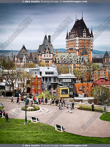 Scenic high angle view of Fairmont Chateau Frontenac at daytime, luxury grand hotel , National Historic Site of Canada. Old Quebec City, Quebec, Canada. Fairmont Le Château Frontenac, Ville de Québec.