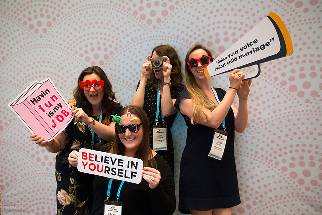 25 June, 2018, Kuala Lumpur, Malaysia : Participants enjoying the photo booth in The Village during the Girls Not Brides Global Meeting 2018 at the Kuala Lumpur Convention Centre. Picture by Graham Crouch/Girls Not Brides