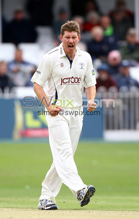 PICTURE BY VAUGHN RIDLEY/SWPIX.COM...Cricket - County Championship - Yorkshire v Worcestershire, Day 3 - North Marine Road, Scarborough, England - 13/07/11...Yorkshire's Richard Pyrah gets frustrated.