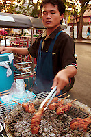 Street food in Thailand includes noodle dishes, fried rice, various kinds of satay, sausages and most commonly fresh fruit and barbequed chicken are ubiquitous in Bangkok and other cities.  Many Thai people will eat four or five meals a day, and often these will be taken at streetside dining carts.