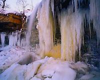 Icy Falls in Winter, Door Peninsula, Near Green Bay on Lake Michigan, Wisconsin