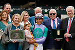 "October 09, 2019 : #6 Sweet Melania and jockey Jose Ortiz win the 29th running of the JPMorgan Chase Jessamine Grade 2 $200,000 ""Win and You're In Breeders' Cup Juvenile Fillies Turf Division"" for owner Robert and Lawana Low and trainer Todd Pletcher at Keeneland Racecourse in Lexington, KY on October 09, 2019.  Candice Chavez/ESW/CSM"
