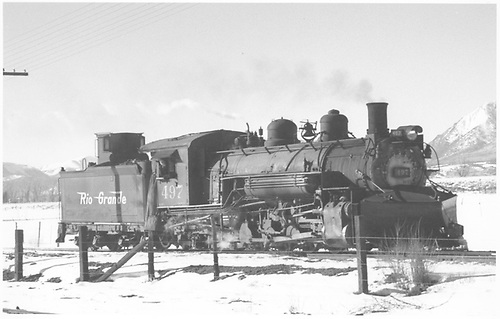 Right side view of K-37 #497 in winter west of Salida.<br /> D&amp;RGW  Salida, CO  Taken by Richardson, Robert W. - 1/7/1949