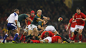 2nd December 2017, Principality Stadium, Cardiff, Wales; Autumn International Rugby Series, Wales versus South Africa; Ross Cronje of South Africa passes the ball out