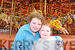 MERRY: Having a go on the merry-go-round at the Birds Funfair at the weekend were Barbara and Priscella O'Doherty, Ardfert.   Copyright Kerry's Eye 2008