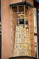 Europe/République Tchèque/Prague: Détail de la Maison Cubiste : A la mère noire de Dieu- Maison de la Vierge Noire- Rue Celetna