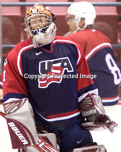 Jonathan Quick (University of Massachusetts-Amherst - Los Angeles Kings)  The US Blue team lost to Sweden 3-2 in a shootout as part of the 2005 Summer Hockey Challenge at the National Junior (U-20) Evaluation Camp in the 1980 rink at Lake Placid, NY on Saturday, August 13, 2005.
