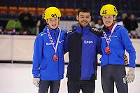 SHORTTRACK: HEERENVEEN: IJsstadion Thialf, 30-01-2015, StarClass 5 (NC-2) Europa Cup, Jeugdwedstrijd (t/m 16 jaar), Hessel VAN BERKUM (#95), Sjinkie Knegt (European Champion), Nina HOOGEVEEN (#45), ©foto Martin de Jong