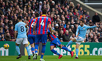 Bernardo Silva of Manchester City hits a shot at goal during the Premier League match between Crystal Palace and Manchester City at Selhurst Park, London, England on 31 December 2017. Photo by Andy Rowland.