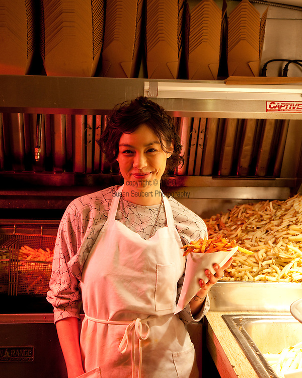 Potato Champion, a food cart in Portland, Oregon's SE Hawthorne district that sells home made french fries. Chef/Owner Xela Goldstein