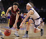 SIOUX FALLS, SD: MARCH 7: Holly Hoopingarner #4 of IUPUI and Mallory Boyle #10 of Western Illinois chase a loose ball during the Women's Summit League Basketball Championship Game on March 7, 2017 at the Denny Sanford Premier Center in Sioux Falls, SD. (Photo by Dick Carlson/Inertia)