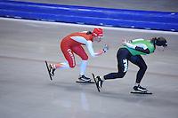 SCHAATSEN: HEERENVEEN: IJsstadion Thialf, 17-06-2013, Training zomerijs, Team Pursuit, Marrit Leenstra, Ireen Wüst, ©foto Martin de Jong