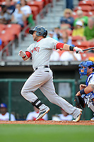 Pawtucket Red Sox outfielder Ronald Bermudez (17) during a game against the Buffalo Bisons on August 4, 2013 at Coca-Cola Field in Buffalo, New York.  Pawtucket defeated Buffalo 8-1.  (Mike Janes/Four Seam Images)