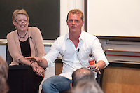 Occidental College kicked off a yearlong celebration of its 125th anniversary on Friday, April 20, 2012. The Founders Day celebration featured a panel discussion in Mosher 1 by distinguished alumni on online entrepreneurship.<br /> (Photo by Dennis Davis, Freelance for Occidental College)