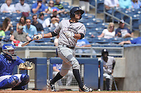 Northwest Arkansas Naturals Ramon Torres (2) swings during the game against the Tulsa Drillers at Oneok Stadium on May 1, 2016 in Tulsa, Oklahoma.  Northwest Arkansas won 7-5.  (Dennis Hubbard/Four Seam Images)