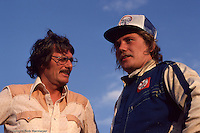 Ted Johnson (left) and Steve Kinser at the 1979 World of Outlaws race at Eldora Speedway near Rossburg, Ohio.