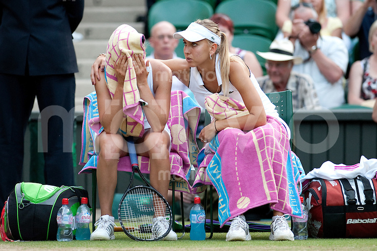The Final of the Ladies Doubles  Elena Vesnina (RUS) and Vera Zvonareva (RUS)  play against Vania King (USA) and Yaroslava Shvedova (KAZ) on Centre Court. The Wimbledon Championships 2010 The All England Lawn Tennis & Croquet Club  Day 12 Saturday 03/07/2010
