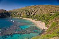 coral reef and white sand beach, Hanauma Bay Nature Preserve, Oahu, Hawaii, Pacific Ocean