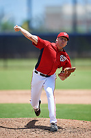 GCL Nationals relief pitcher Leif Strom (46) delivers a pitch during a game against the GCL Mets on August 4, 2018 at FITTEAM Ballpark of the Palm Beaches in West Palm Beach, Florida.  GCL Nationals defeated GCL Mets 7-4.  (Mike Janes/Four Seam Images)