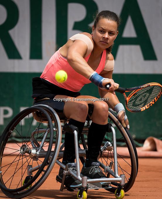 Paris, France, 7 June, 2017, Tennis, French Open, Roland Garros,  Wheelchair women, Marjolein Buis (NED)<br /> Photo: Henk Koster/tennisimages.com