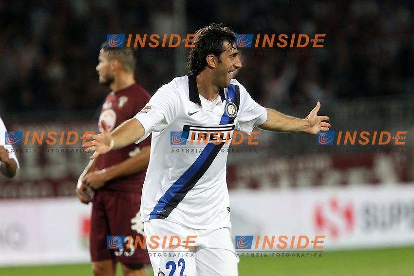 """Esultanza di Diego Milito.Goal celebration.Torino 16/09/2012 Stadio """"Olimpico"""".Football Calcio Serie A 2012/13.Torino v Inter.Foto Insidefoto Paolo Nucci."""