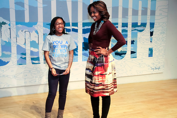 NEW YORK, NY - FEBRUARY 20: Sophia Rose Stewart-Chapman and First Lady Michelle Obama attends WAT-AHH's Taking Back The Streets! location inside the New Museum in New York, New York on February 20, 2014. Photo Credit: Walik Goshorn/MediaPunch