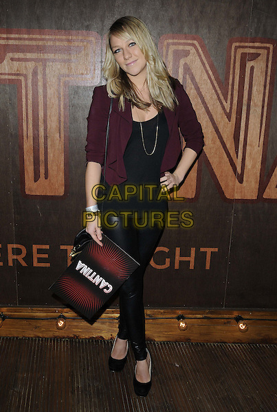 Chloe Madeley.'Cantina' opening night at London Wonderground, Jubilee Gardens..London, England..May 21st, 2012.full length blazer leather trousers top hand on hip maroon burgundy.CAP/CAN.©Can Nguyen/Capital Pictures.