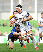 Francois Louw of Bath Rugby looks to get past Cian Healy of Leinster Rugby. European Rugby Champions Cup quarter final, between Leinster Rugby and Bath Rugby on April 4, 2015 at the Aviva Stadium in Dublin, Republic of Ireland. Photo by: Patrick Khachfe / Onside Images