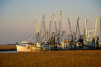 AJ1562, shrimp boats, South Carolina, Shrimp boats moored at the dock on the marshlands at sunrise in Beaufort, South Carolina.