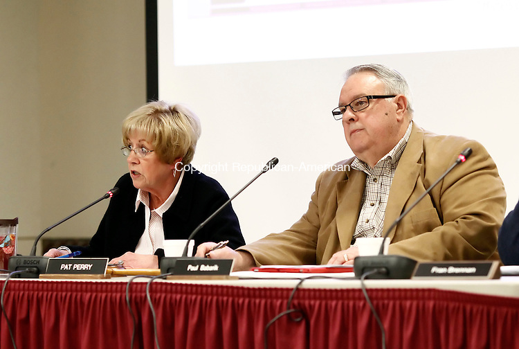 Southbury, CT- 07 April 2014-040714CM03-  Pat Perry, left,  chairman of the Pomperaug Region School District 15 board of education, addresses members of the community during a public hearing on its proposed budget at Pomperaug High School in Southbury on Monday.  Looking on at left is board member, Paul Babarik.   Christopher Massa Republican-American